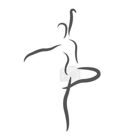 Photo pour Femme danse esquissée. Modèle de conception d'étiquette, bannière ou une carte postale. Illustration de raster. - image libre de droit