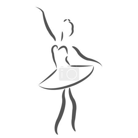 Photo pour Ballerine esquissée. Modèle de conception d'étiquette, bannière ou une carte postale. Illustration de raster. - image libre de droit