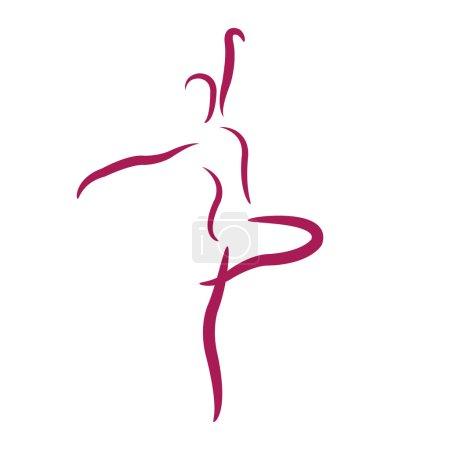 Illustration pour Esquisse fille dansante heureuse isolé sur fond blanc. Modèle de conception pour étiquette, bannière ou carte postale. Vecteur . - image libre de droit