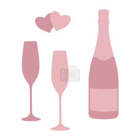 Illustration pour Bouteille de champagne et verres isolés sur fond blanc. Modèle de conception pour étiquette, badge ou logo. Vecteur . - image libre de droit