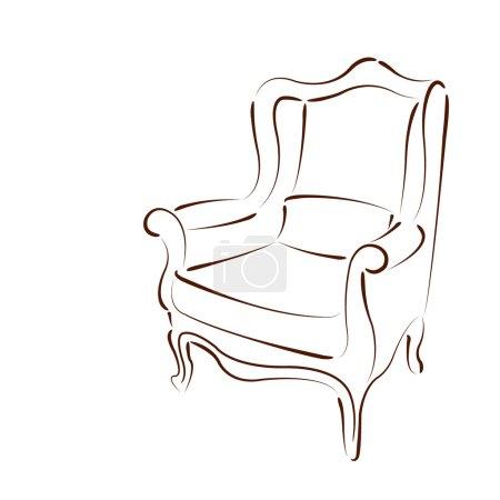 Elegant sketched armchair.