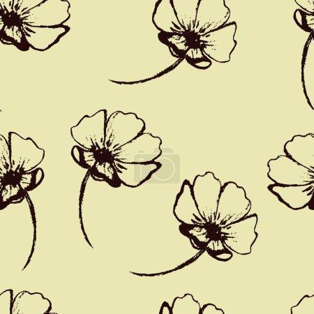 Illustration pour Modèle sans couture vectoriel vintage avec des fleurs dessinées à la main - image libre de droit