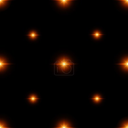 Seamless pattern of luminous stars. Illusion of light flashes. Orange flames on a black background. Abstract background. Vector illustration.