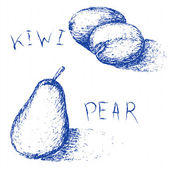 Hand drawn fruits Summer fruit sketch set Kiwi and pear for juice menu Linear blue ink elements isolated on white background Vintage style Vector illustration