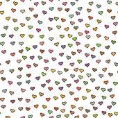 Nahtlose Muster mit kleinen bunten Herzen. Zusammenfassung wiederholen. Netter Hintergrund. Weißer Hintergrund. Vorlage für Valentinstag, Muttertag, Hochzeit, Gästebuch, Oberflächentexturen. Vektor-Illustration