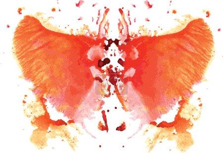 Illustration pour Aquarelle symétrique tache de Rorschach sur fond blanc - image libre de droit