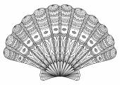 Seashell Zentangle for coloring booktattoo t shirt design and so on