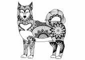 Alaskan malamute dog line art design for tattoo t shirt design coloring book for adult and so on - stock vector
