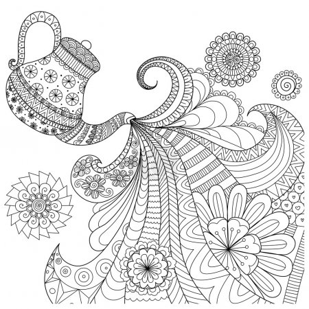 Line art design of teapot pouring tea for coloring book for adult and other decorations