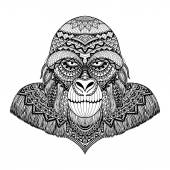 Clean lines doodle art design of gorilla for adult coloring book T- Shirt graphic and so on - Stock Vector