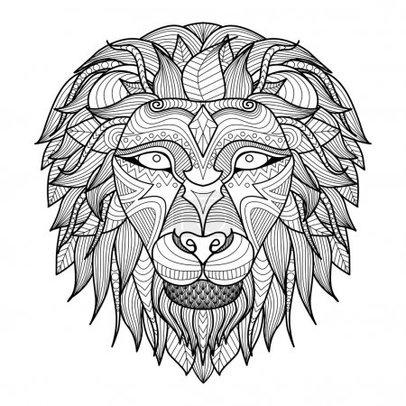 Ethnic patterned head of lion on white background/ african / indian / totem / tattoo design. Use for print, posters, t-shirts,logo,coloring book