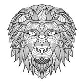 Ethnic patterned head of lion on white background/ african / indian / totem / tattoo design Use for print posters t-shirtslogocoloring book
