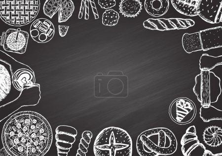 Illustration pour Menu café et boulangerie - image libre de droit