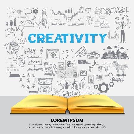 Illustration pour Dessinés sur la créativité sur portable à la main. - image libre de droit