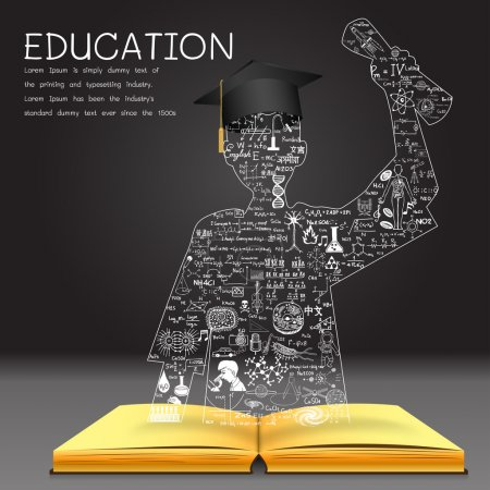 Illustration for Learning concept. The knowledge from the book becomes successful graduated student. Education doodles including the word ROMANIAN in Romanian,CHINESE in Chinese,KOREAN in Korean and other languages - Royalty Free Image