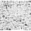 Set of food and drinks doodle on white background....