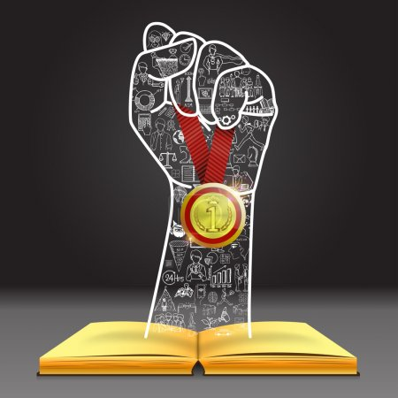 Illustration for Doodles in hand shape holding the winner medal over open book. You can do it. - Royalty Free Image