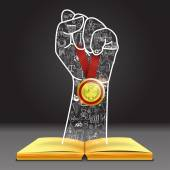 Doodles in hand shape holding the winner medal over open book You can do it