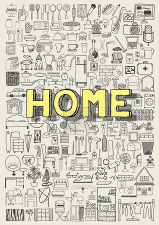 Illustration for Big set of hand drawn home appliance icons. Home doodles - Royalty Free Image