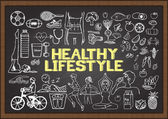 Hand drawn about HEALTHY LIFESTYLE  on chalkboard