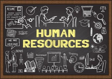 Illustration pour Doodles sur les ressources humaines sur le tableau . - image libre de droit