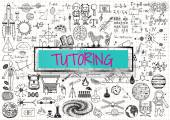 Tutoring doodle with 3d transparent frame with the word TUTORING