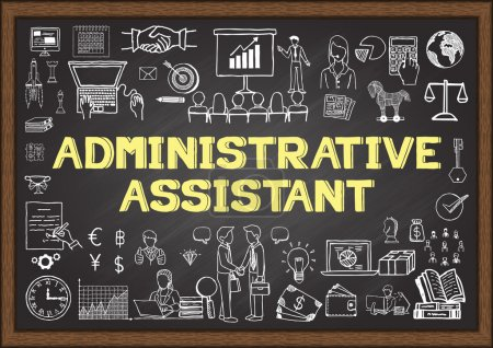 Business doodle about administrative assistant on  chalkboard.