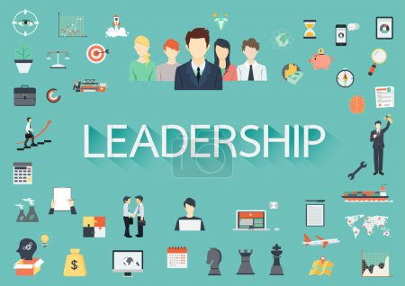 Word LEADERSHIP with long shadow surrounding by concerning flat icons.