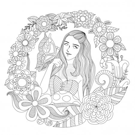 Pretty girl playing with butterfly in the flowers garden line art for coloring page for adult.