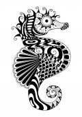 Hand drawn sea horse zentangle style for coloring paget shirt design effectlogo tattoo and so on