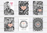 Set of hand drawn zentangle on A4 template for print Wedding card design template