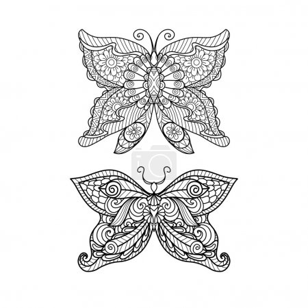 Hand drawn butterfly zentangle style for coloring book, shirt design  or tattoo