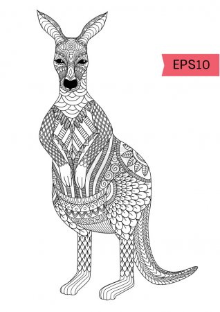 Drawing zentangle kangaroo