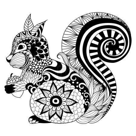 Hand drawn squirrel zentangle style