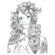Beautiful forest fairy  for coloring book for adul...
