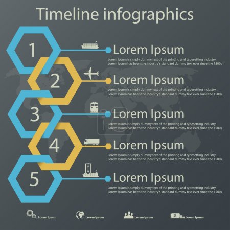 Illustration for Time line infographics vector template with steel blue and gold colors paper effect showing a range of five options in text boxes. Icons for shipping business. - Royalty Free Image
