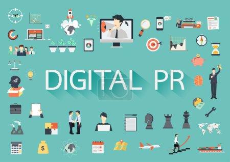 Illustration pour Le mot DIGITAL PR entourant par concernant les icônes plates - image libre de droit