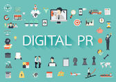 The word DIGITAL PR surrounding by concerning flat icons