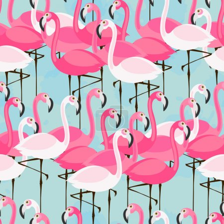 pattern with pink and white flamingos