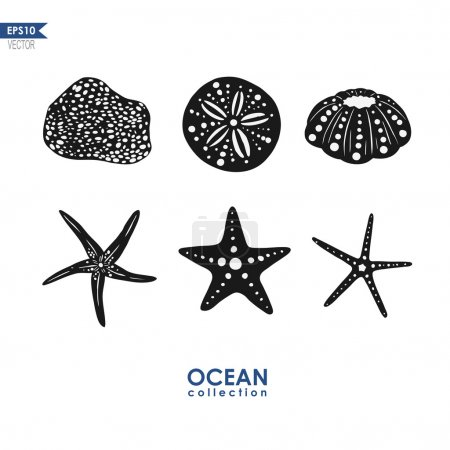 set of sea and ocean creatures