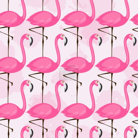 pattern with pink flamingos