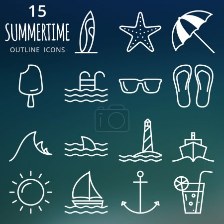Summer icons set. Pixel perfect vector outline icons
