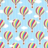 Cute seamless pattern in the nursery Hot air balloon clouds Seamless background The pattern in pastel colors Pattern traveler Vector colorful pattern ball basket and colored clouds