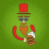 Vector illustration A bearded man with a mustache glasses and a stylish hat cylinder A mug of beer in his hand The stylized face with a beard Big curly beard beer Figure mugs of beer Hand drawing