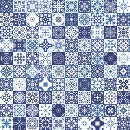 Photo pour Mega Magnifique motif patchwork sans couture à partir de tuiles marocaines colorées, ornements. Peut être utilisé pour le papier peint, remplissage de motifs, fond de page Web, textures de surface . - image libre de droit