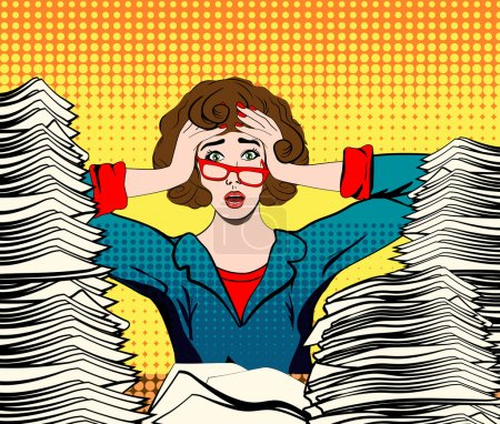 Illustration for Stressed woman. stressed worker. businesswoman in panic. a young girl sits at his Desk and holds her hands on her head. pop art vector illustration. Paper Work. Stressed person concept - Royalty Free Image