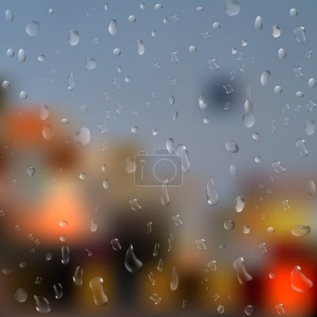 Drops of rain on window with abstract lights. 3d illustration. vector