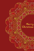 Christmas card with Merry Christmas text with decorations Nature Floral ornament as a snowflake circle silhouette: berry flower Brown red purple yellow colors Vector eps10
