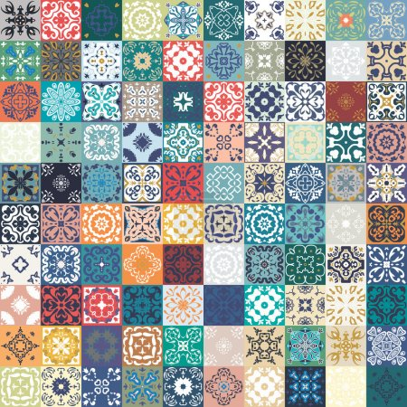 Gorgeous floral patchwork design. Colorful Morocca...