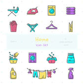 Home stuff color icon set of 15 modern and stylish icons Part 6 - laundry stuff EPS 10 Pixel perfect icons